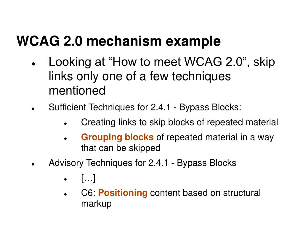WCAG 2.0 mechanism example