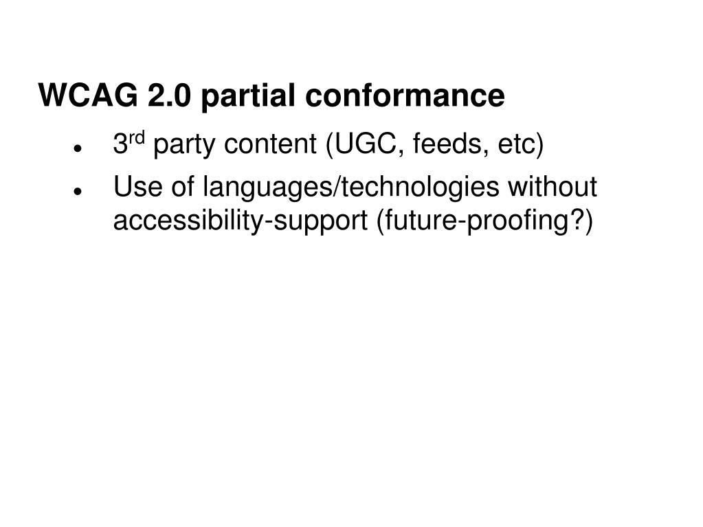 WCAG 2.0 partial conformance