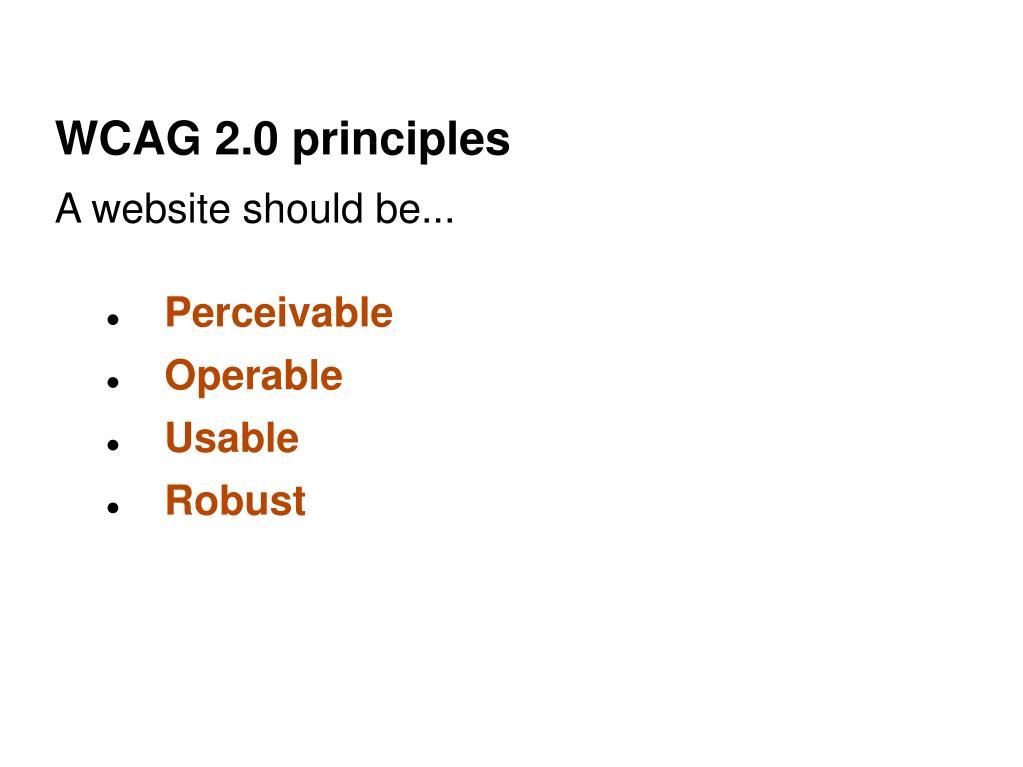 WCAG 2.0 principles