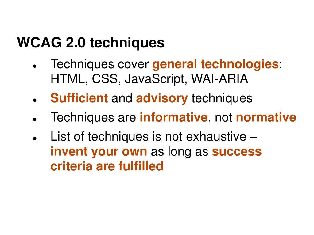 WCAG 2.0 techniques