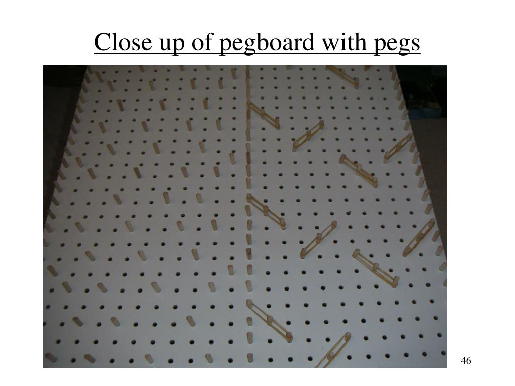 Close up of pegboard with pegs