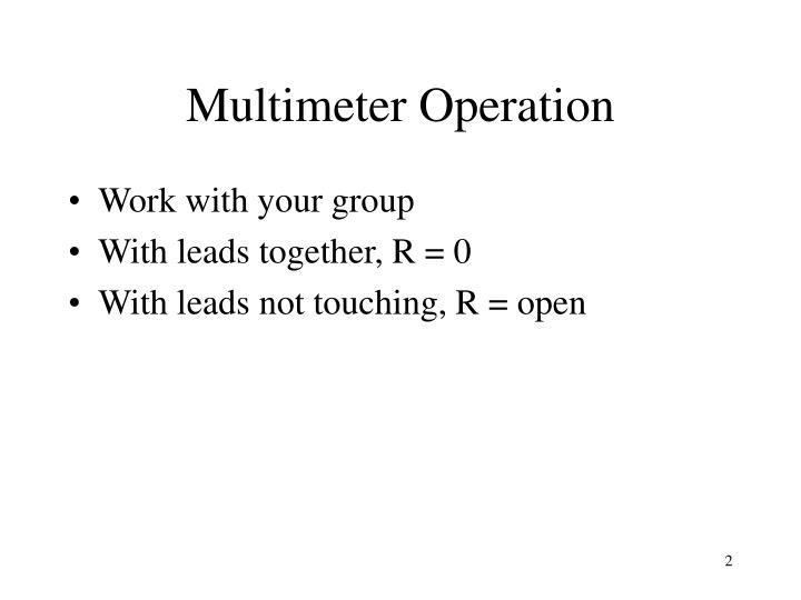 Multimeter operation