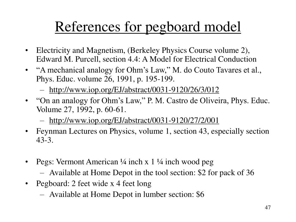 References for pegboard model