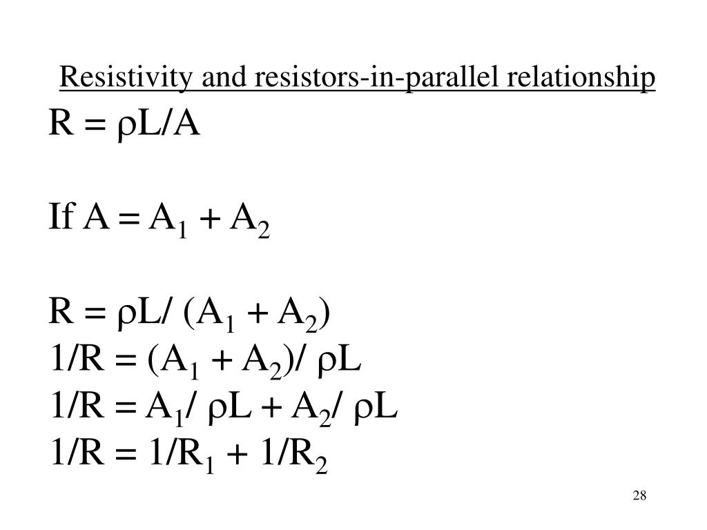 Resistivity and resistors-in-parallel relationship