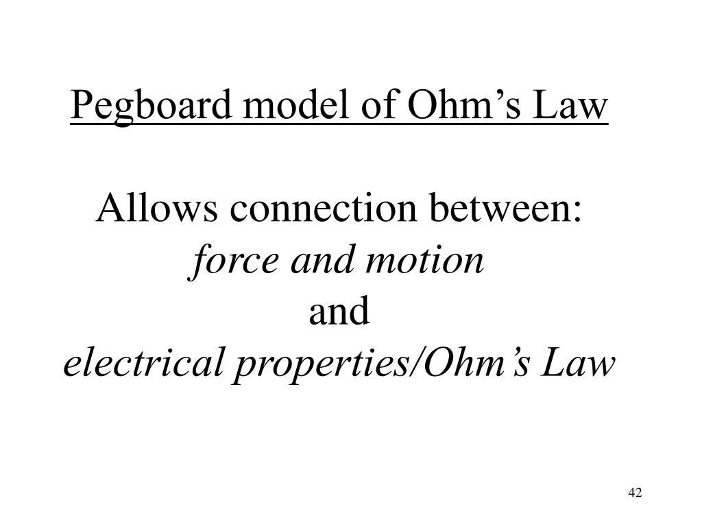 Pegboard model of Ohm's Law