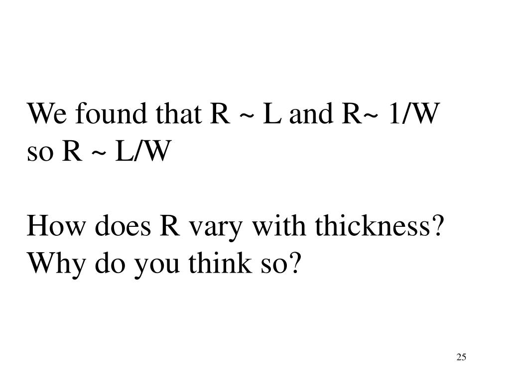 We found that R ~ L and R~ 1/W