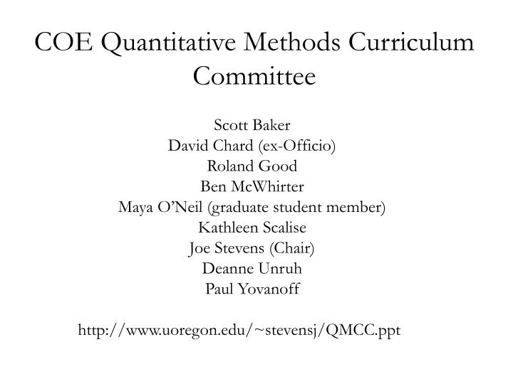 Coe quantitative methods curriculum committee