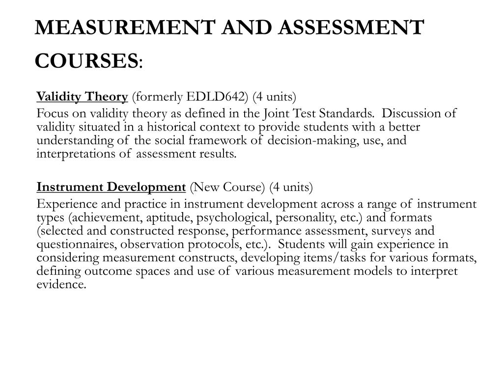 MEASUREMENT AND ASSESSMENT COURSES