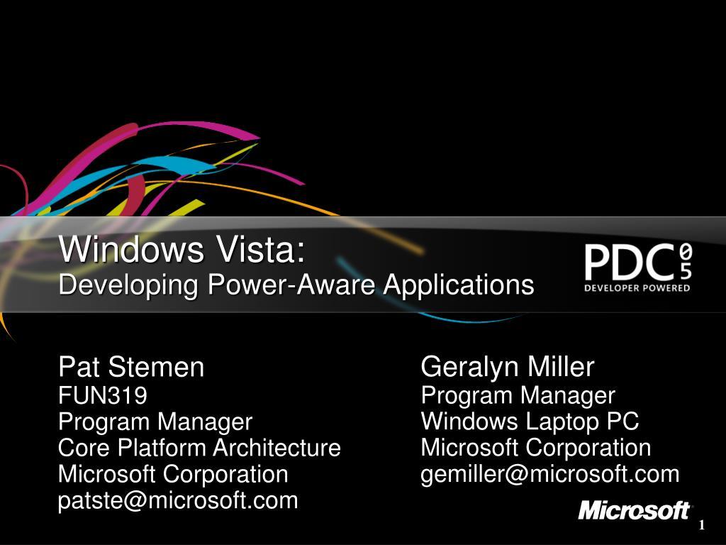 windows vista developing power aware applications l.