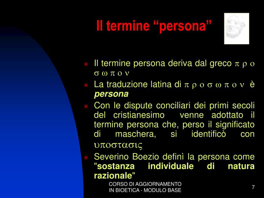 """Il termine """"persona"""""""