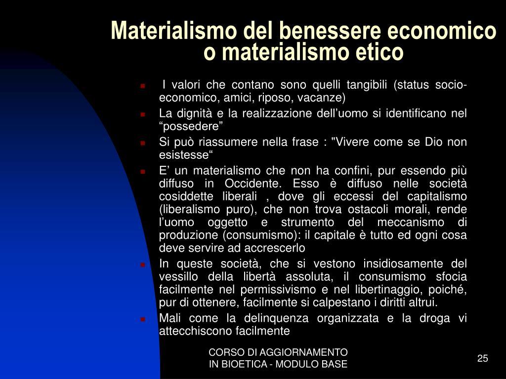 Materialismo del benessere economico