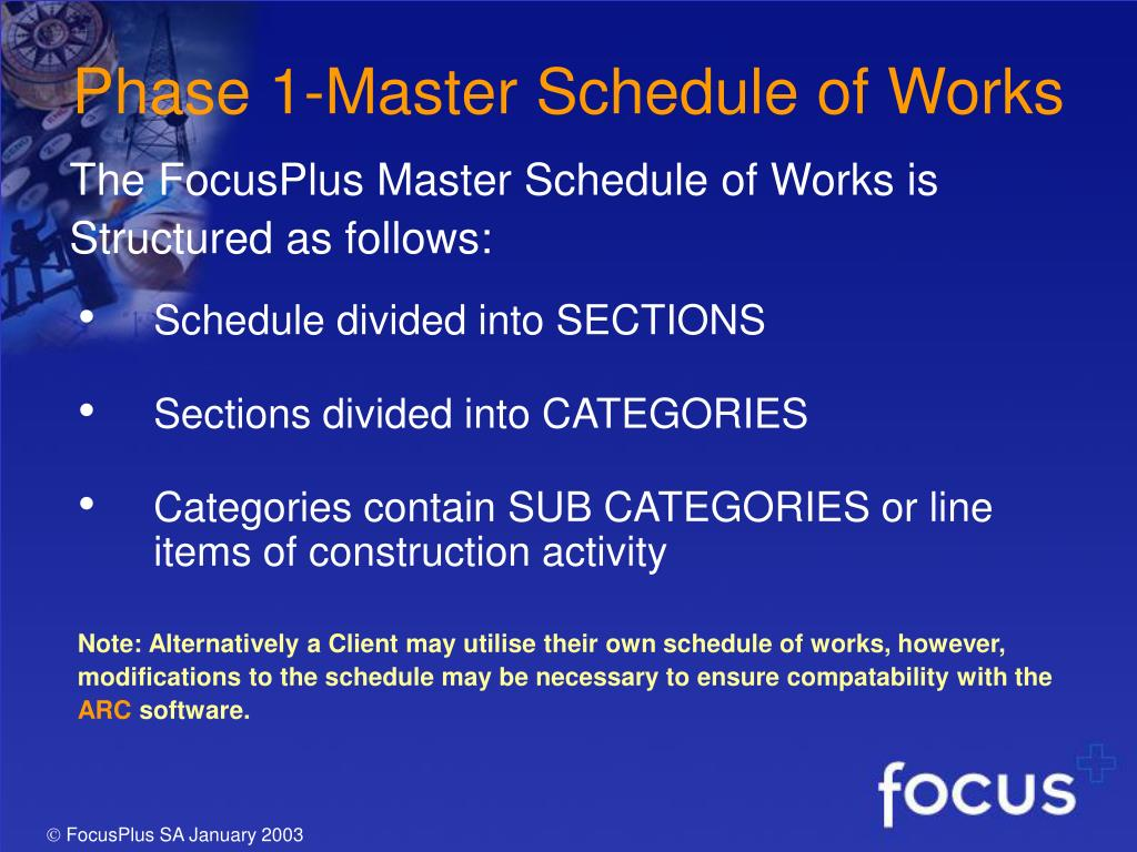 Phase 1-Master Schedule of Works