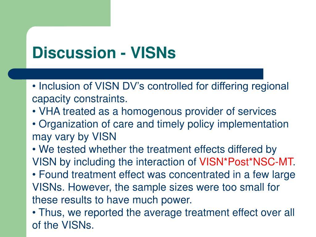 Discussion - VISNs