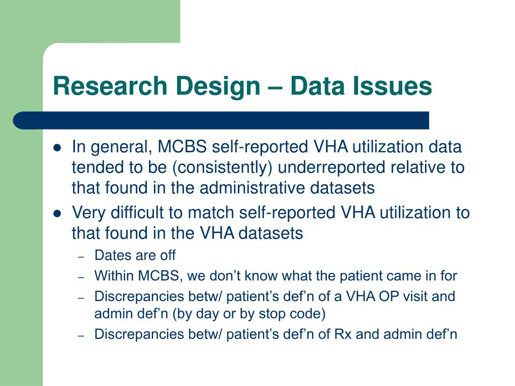 Research Design – Data Issues