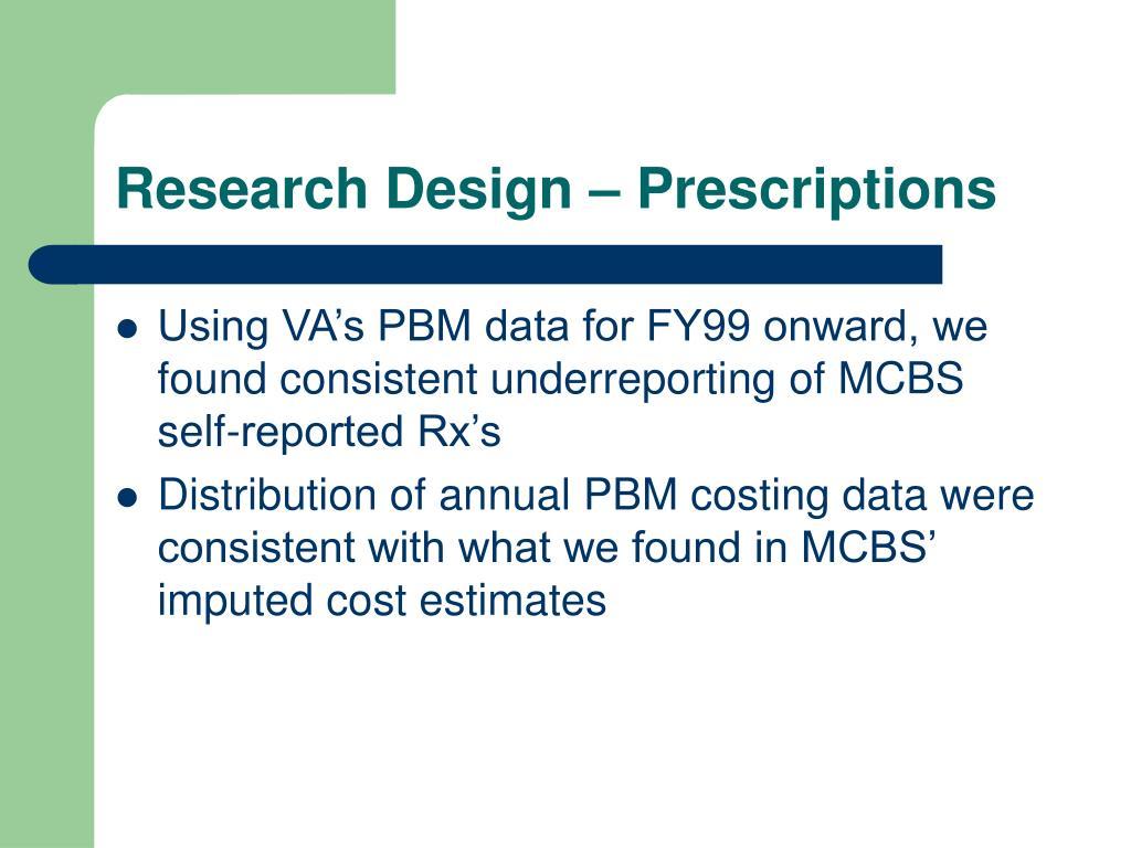 Research Design – Prescriptions