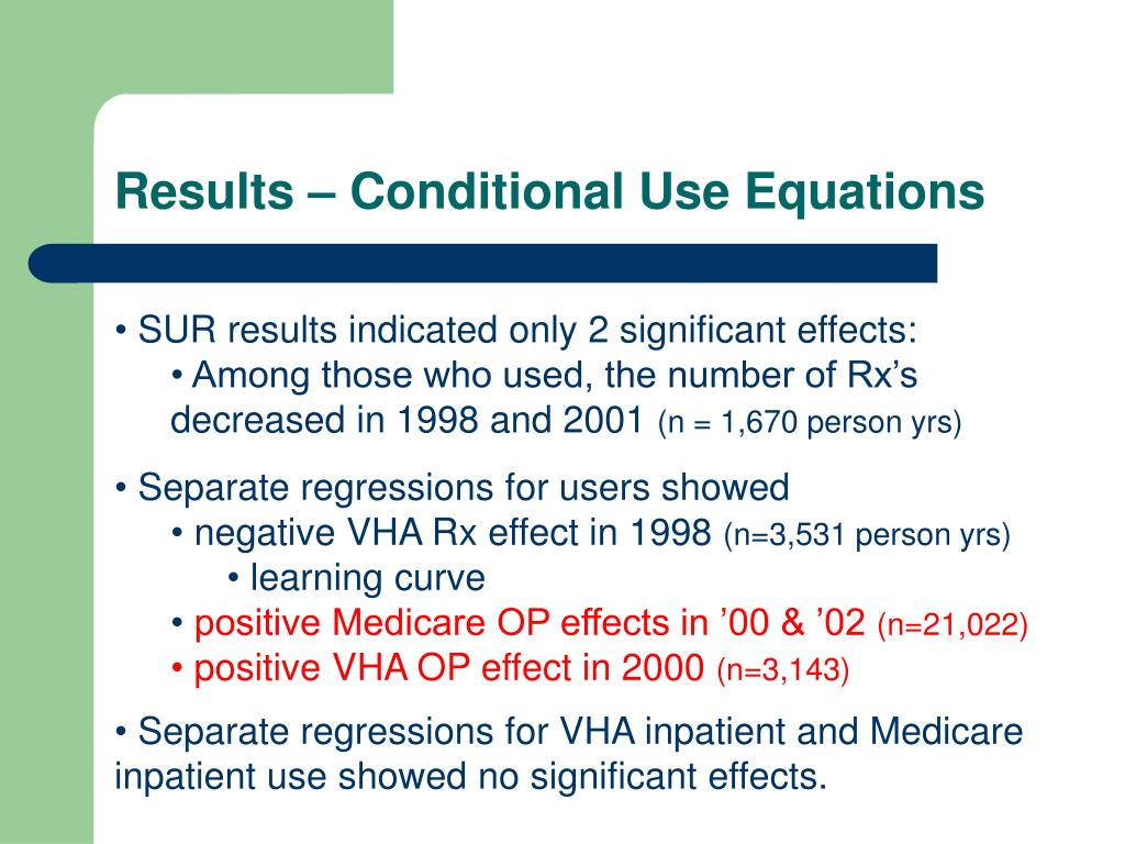 Results – Conditional Use Equations