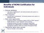 benefits of ncma certification for individuals