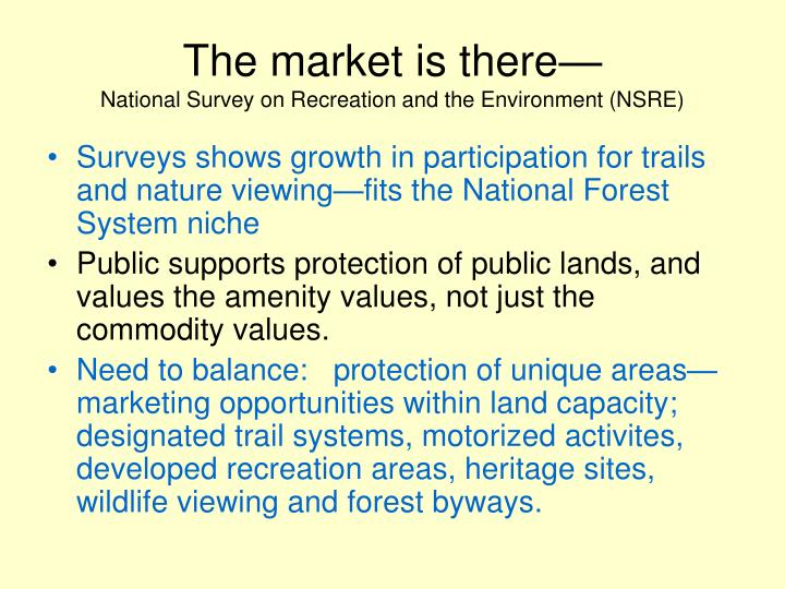 The market is there national survey on recreation and the environment nsre