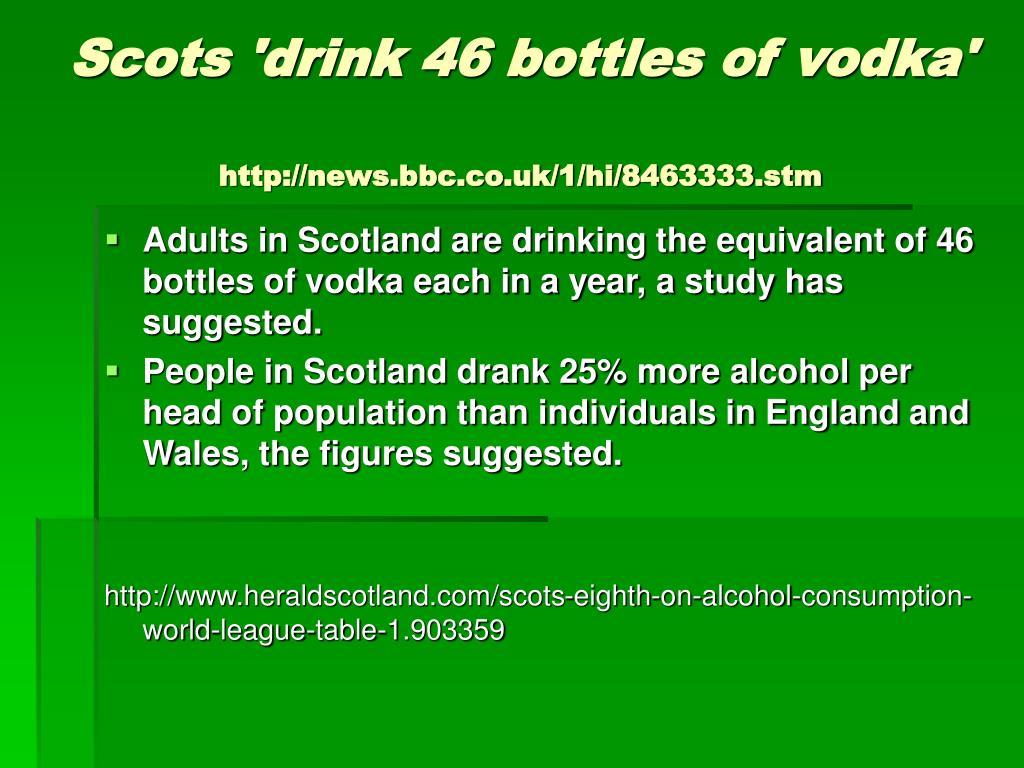 Scots 'drink 46 bottles of vodka'