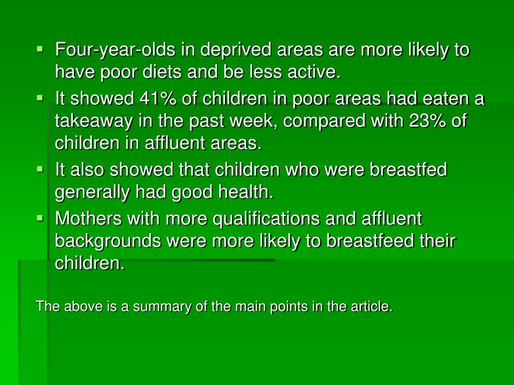 Four-year-olds in deprived areas are more likely to have poor diets and be less active.