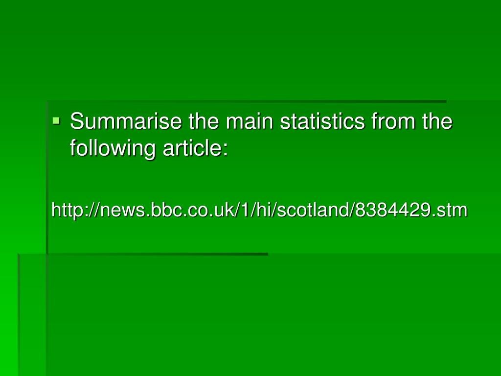 Summarise the main statistics from the following article:
