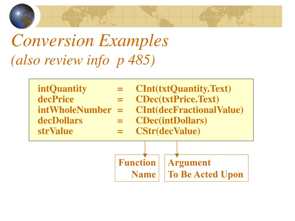 Conversion Examples