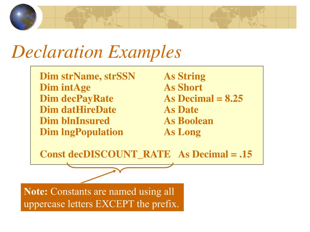 Declaration Examples