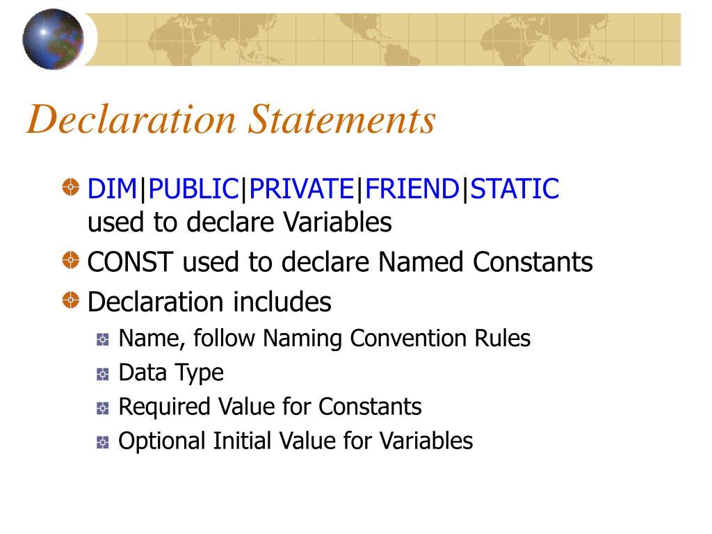 Declaration Statements