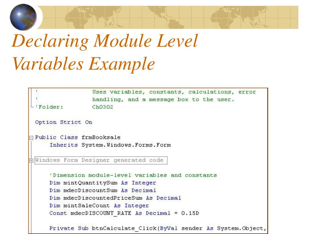 Declaring Module Level Variables Example