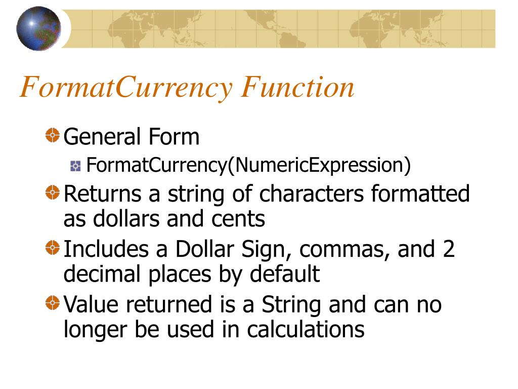 FormatCurrency Function