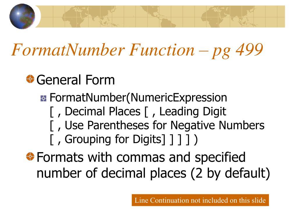 FormatNumber Function – pg 499