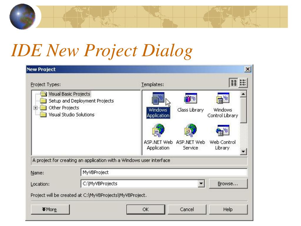 IDE New Project Dialog