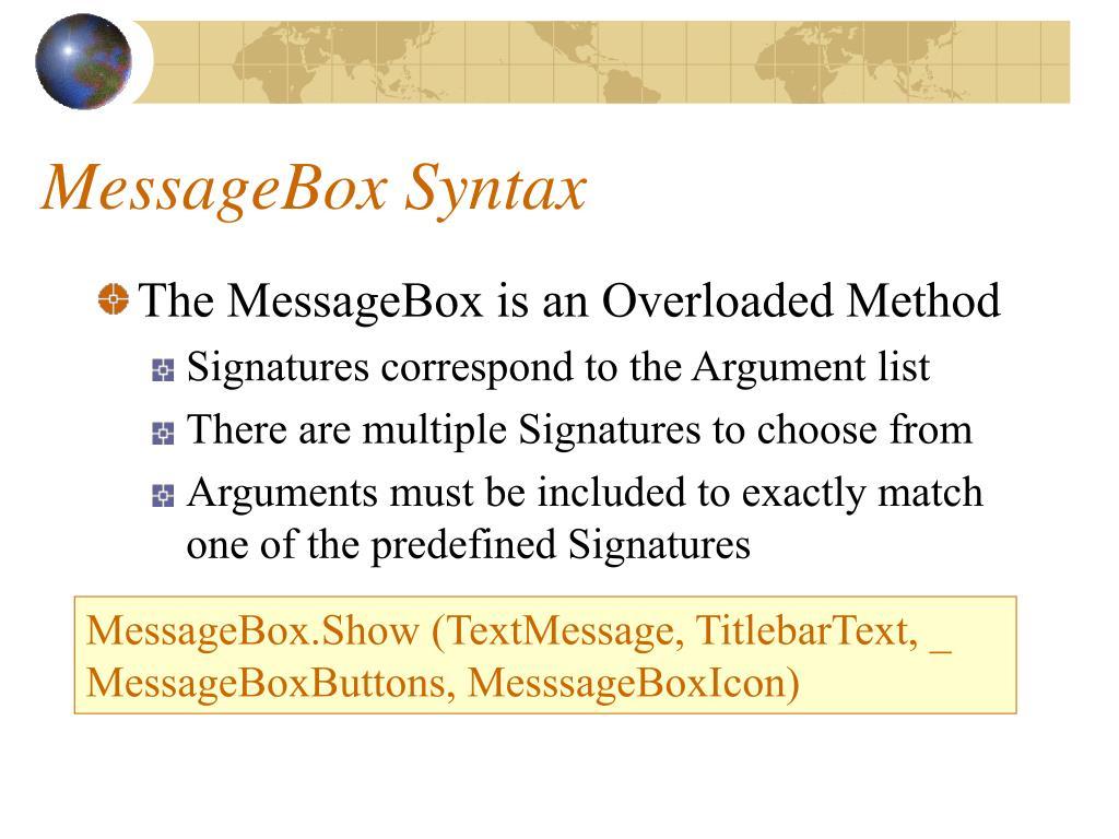 MessageBox Syntax