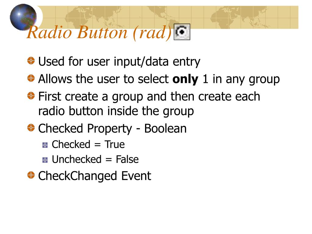Radio Button (rad)
