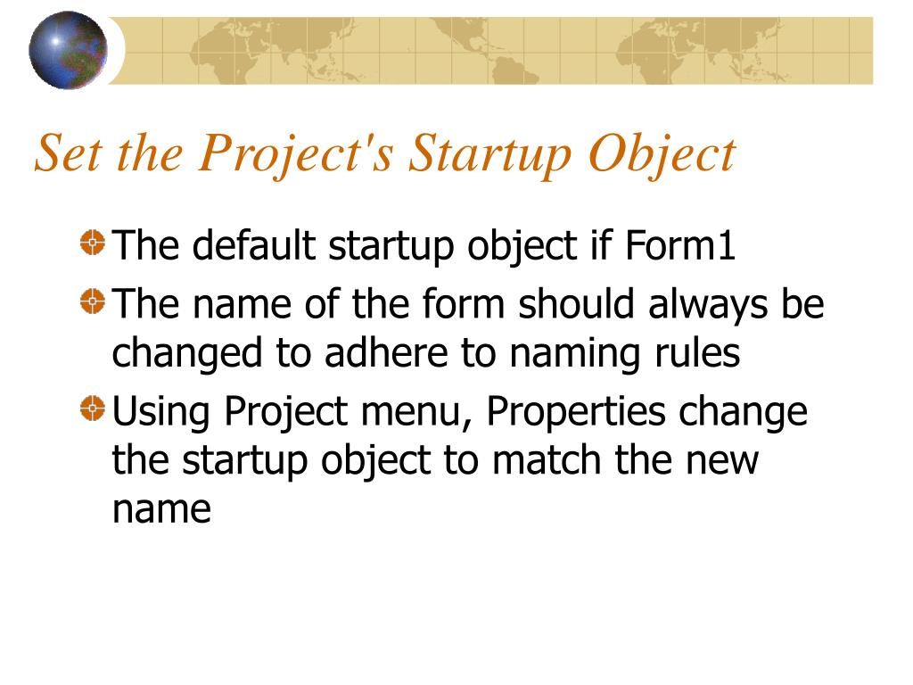 Set the Project's Startup Object