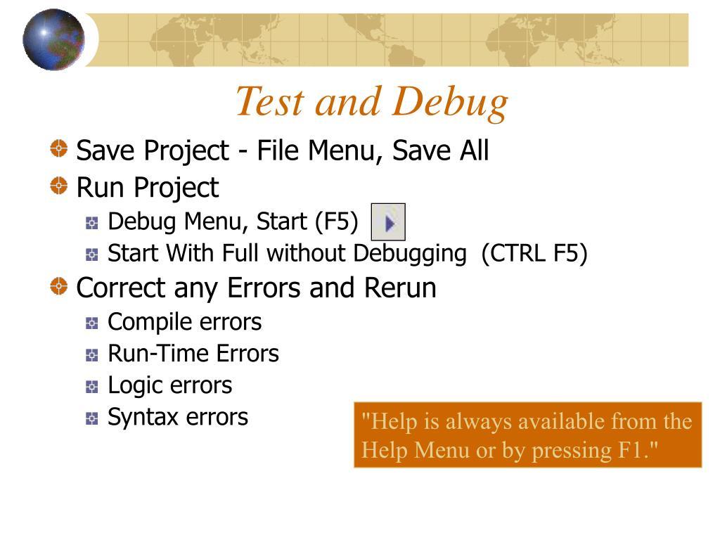 Test and Debug