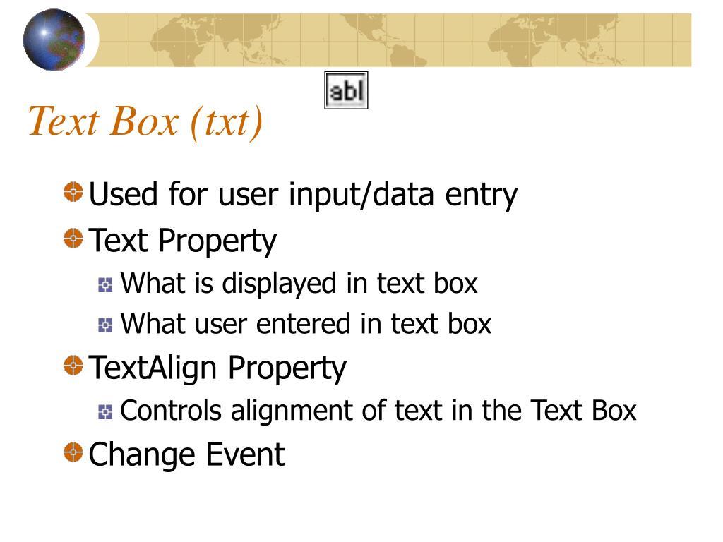 Text Box (txt)