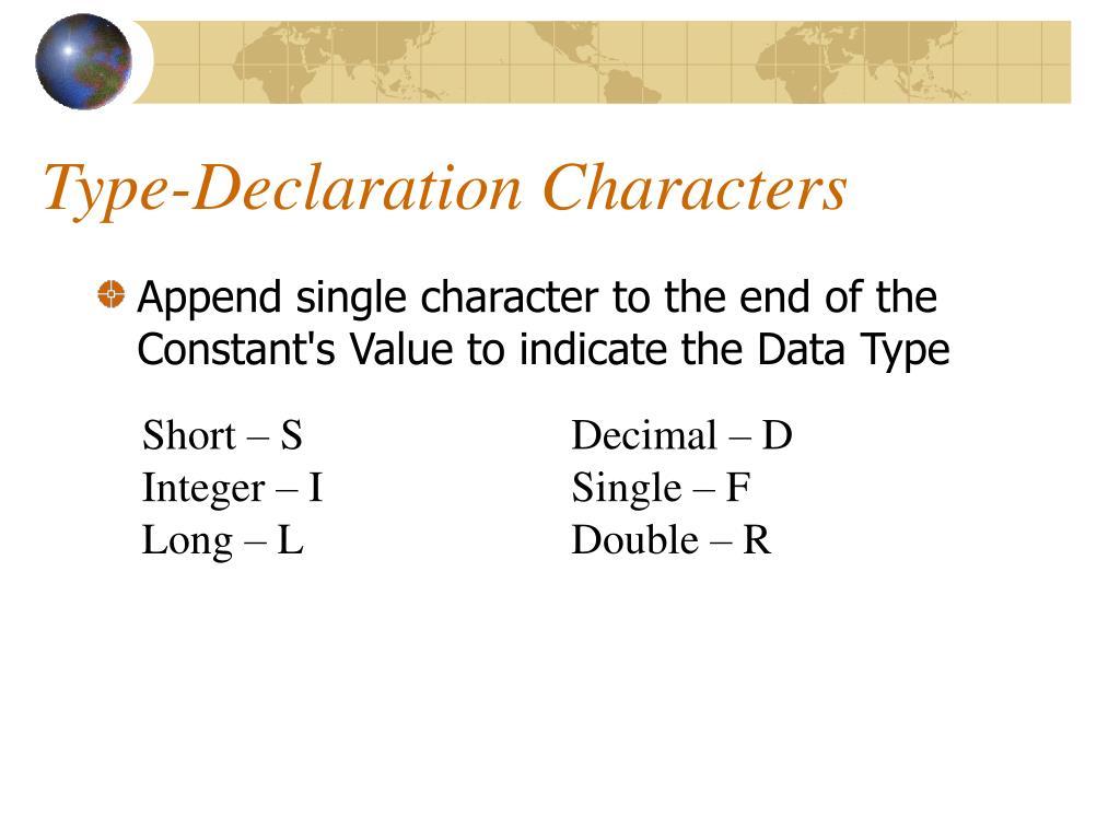 Type-Declaration Characters