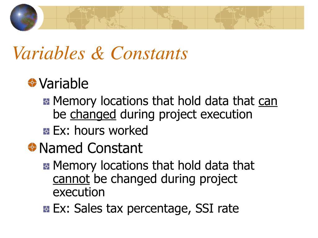 Variables & Constants