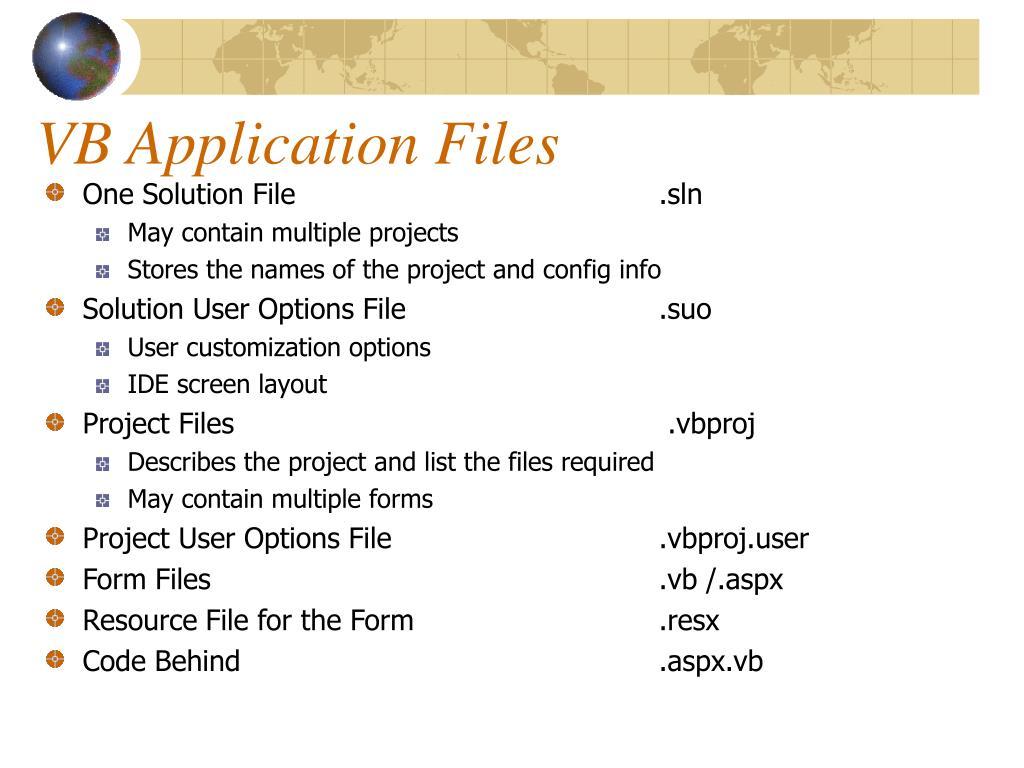 VB Application Files