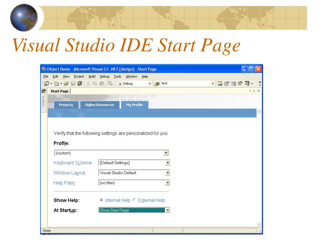 Visual Studio IDE Start Page