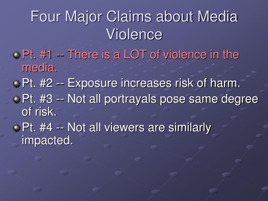 Four Major Claims about Media Violence