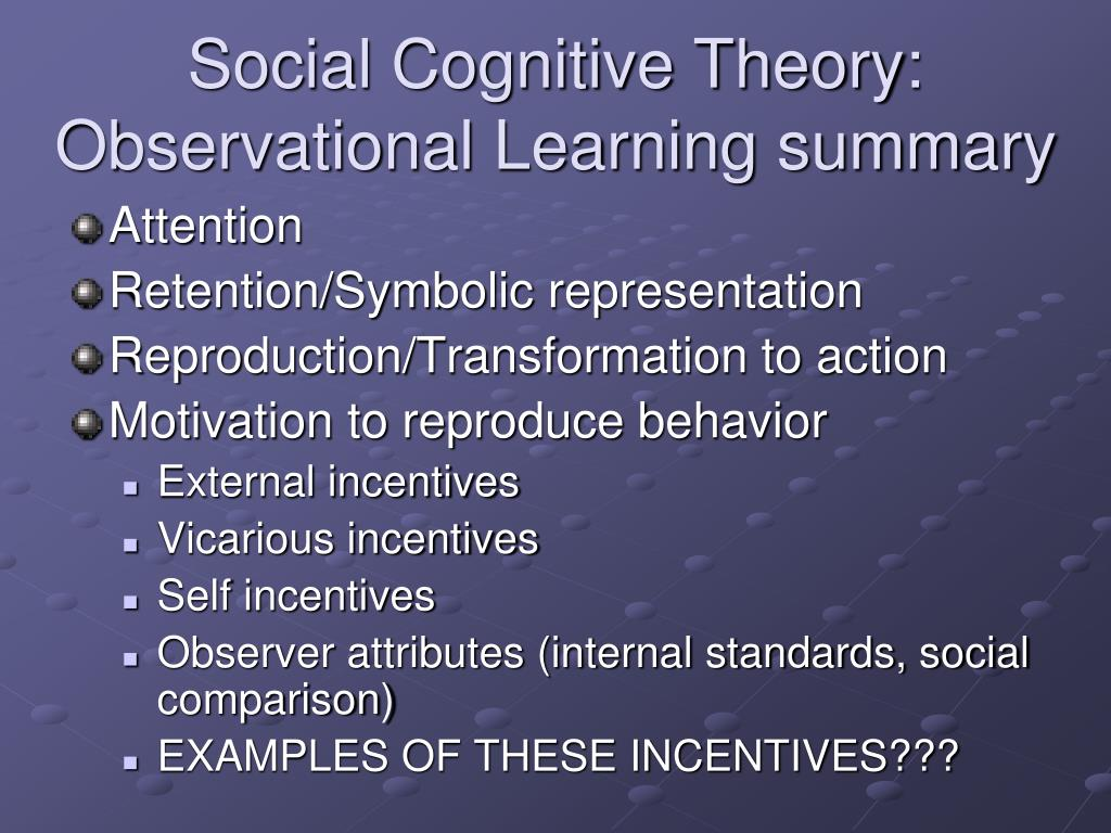 Social Cognitive Theory: Observational Learning summary