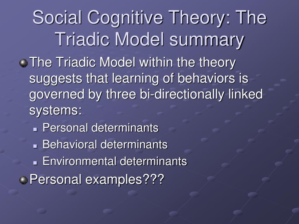 Social Cognitive Theory: The Triadic Model summary