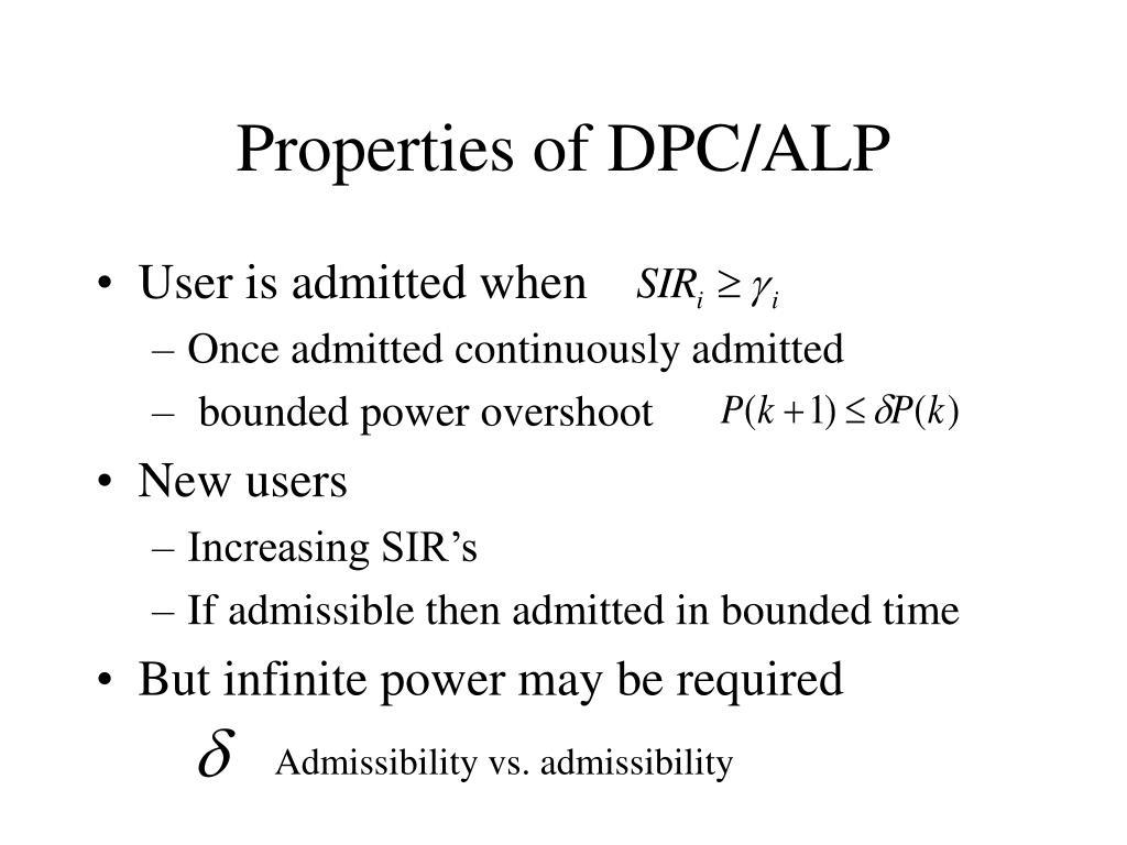 Properties of DPC/ALP