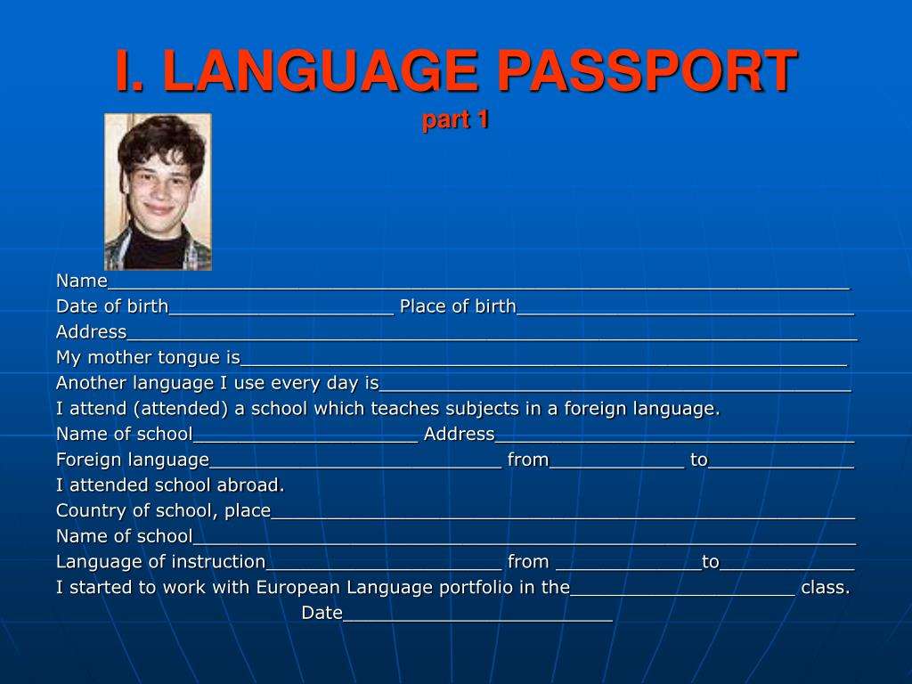 I. LANGUAGE PASSPORT