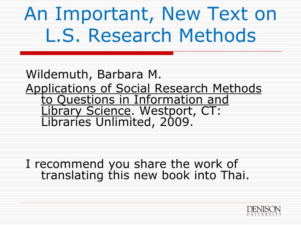 An Important, New Text on L.S. Research Methods