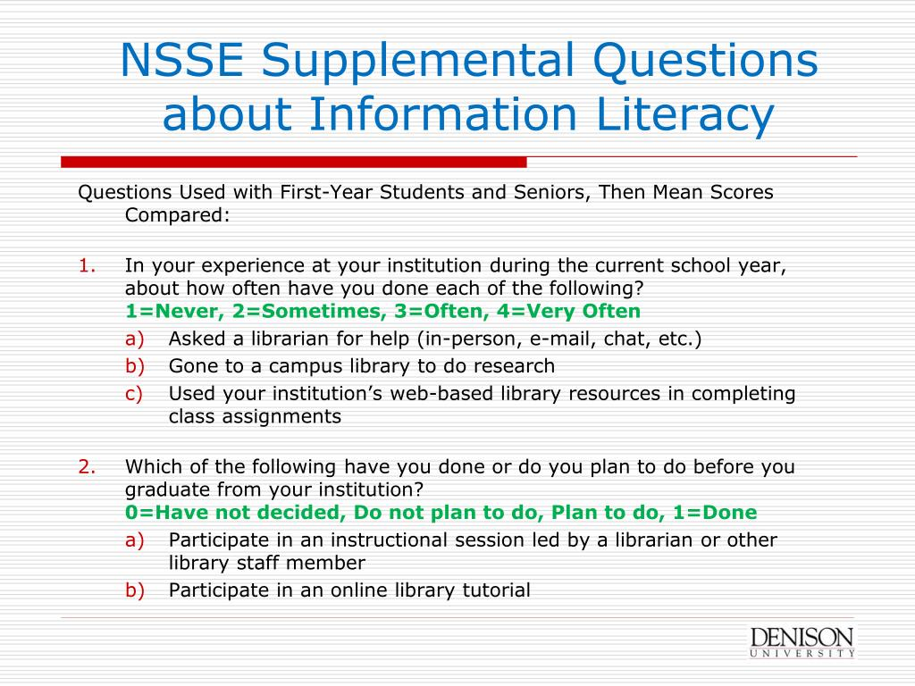 NSSE Supplemental Questions about Information Literacy