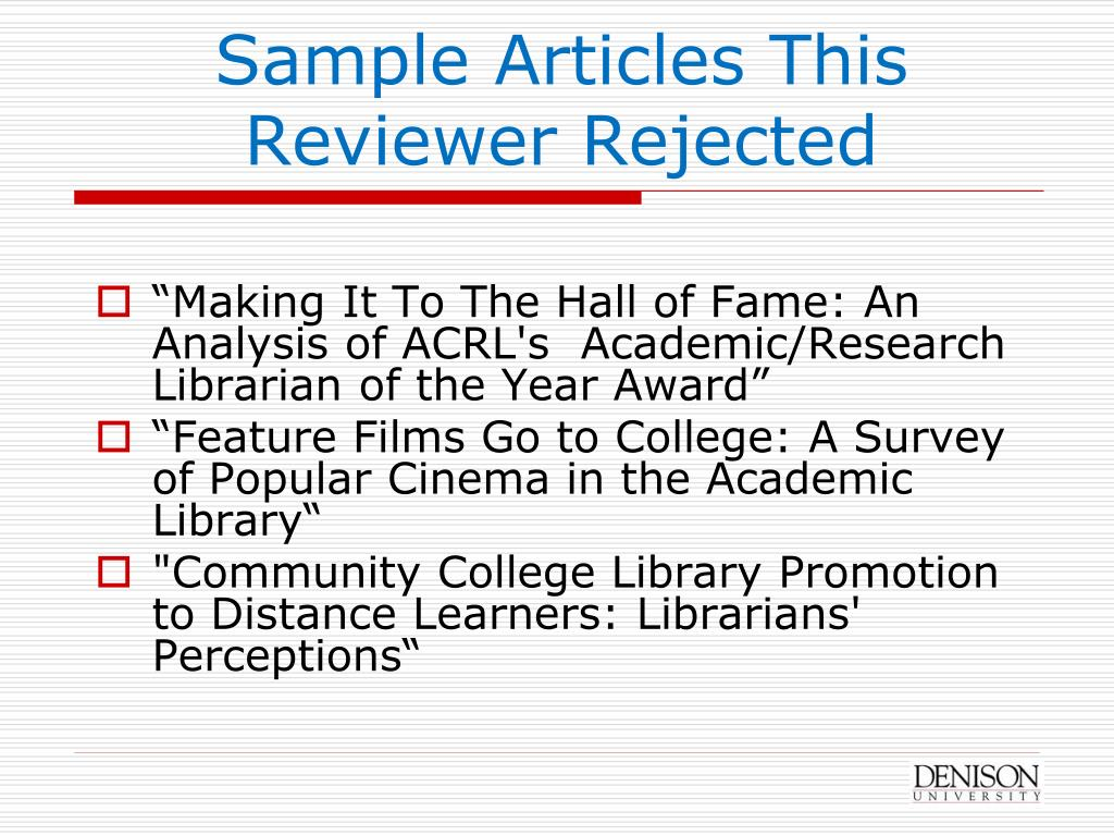 Sample Articles This Reviewer Rejected