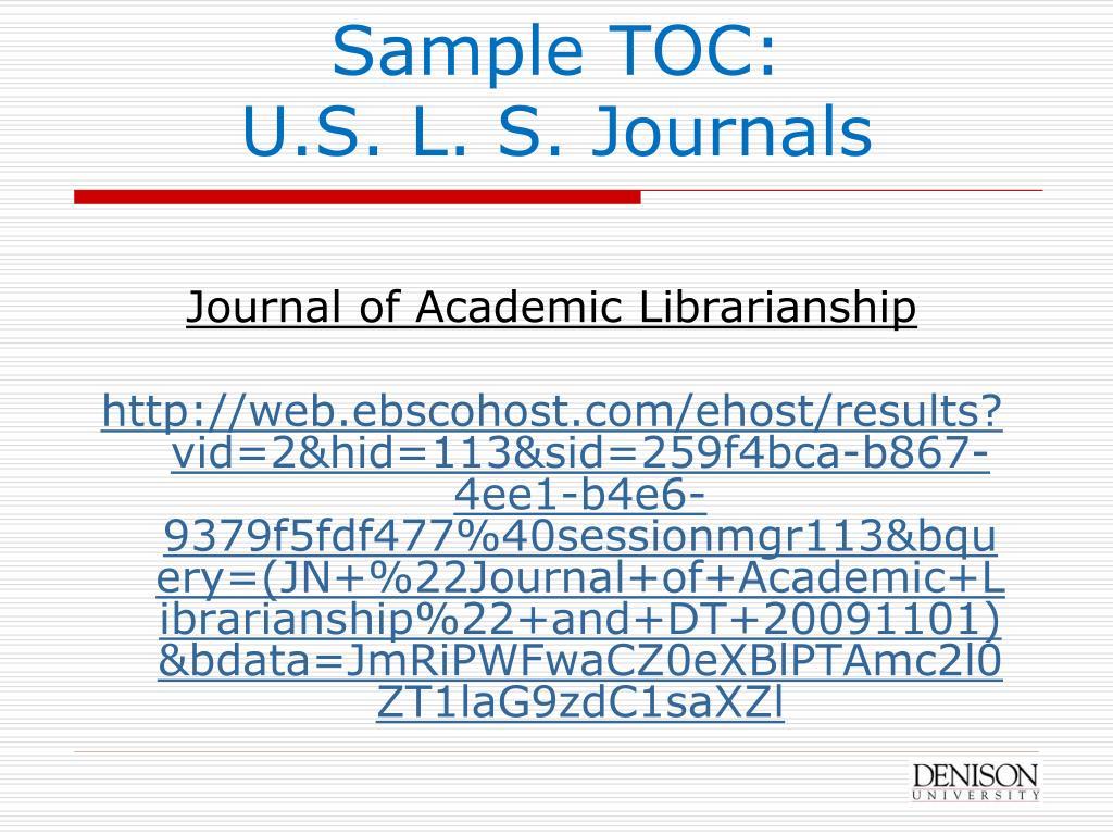 Sample TOC: